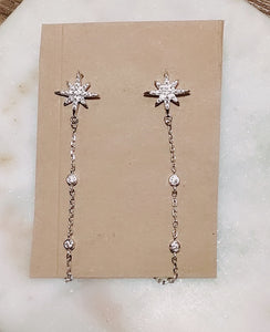 Sterling Silver North Star Long Chain Stud Earrings
