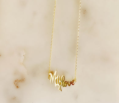 Sterling Silver 14K Gold Plated MY LOVE Necklace