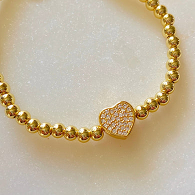 My Heart Brass Stretch Bracelet with CZ Stones