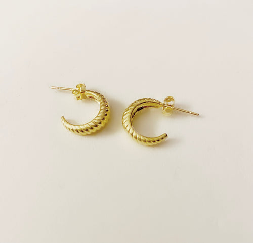 Caracoles Sterling Silver Gold Plated Earrings