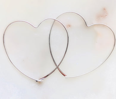Sterling Silver Mega Heart Hoop Earrings