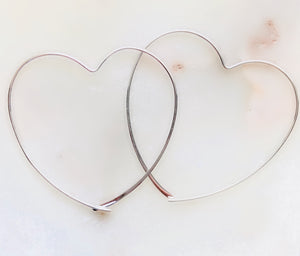 Sterling Silver Mega Heart Hoop Earrings - Sterling Silver