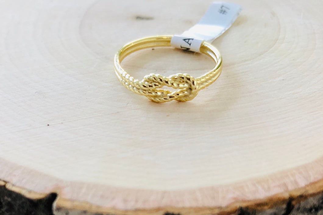 Sterling Silver Gold Plated Twisted Rope Ring