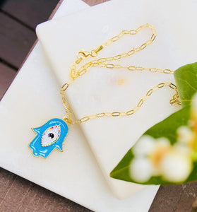 Gold Plated Brass Blue Life Hamsa on Sterling Silver Clip Link Chain