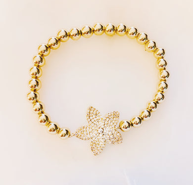 Flower Brass Stretch Bracelet with CZ Stones