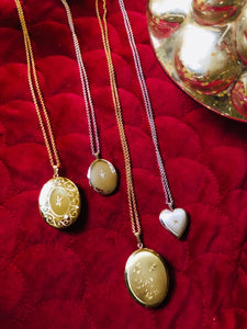 925 Sterling Silver and Gold Plated Oval and Heart Lockets