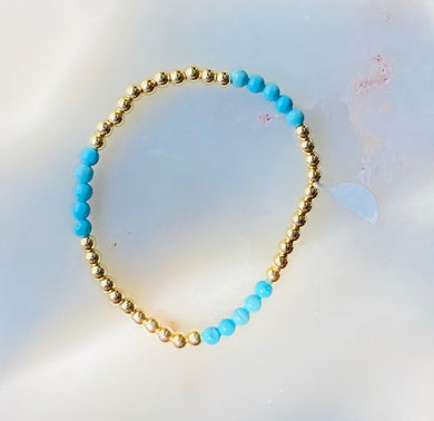 Layer Me Gold Plated Turquoise Bead Stretch Bracelet