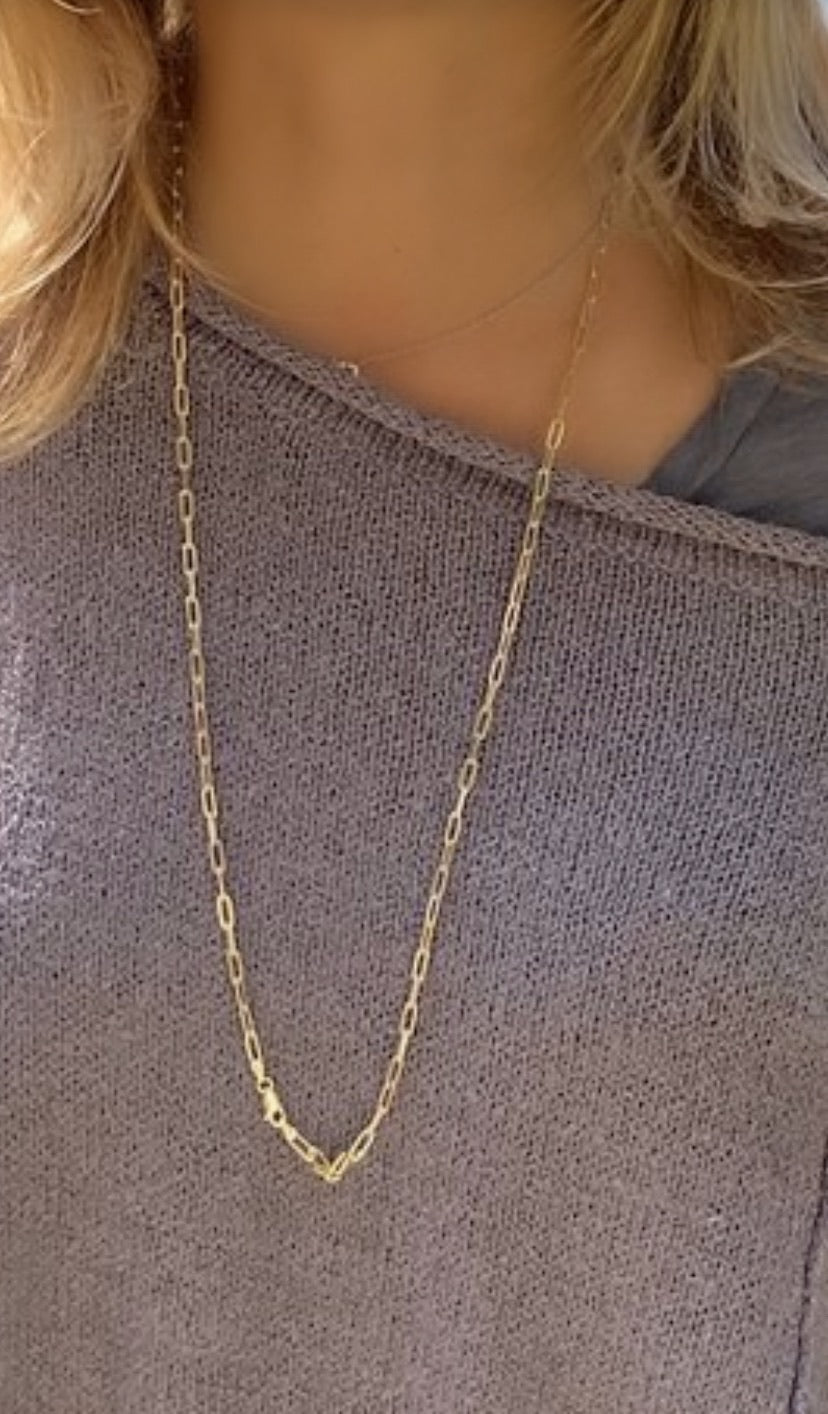 Gold Plated Sterling Silver LINK Necklace 24‰¡ó�