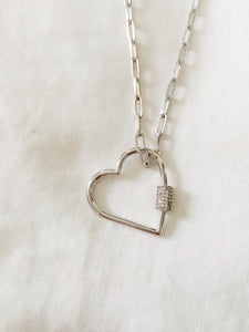 UnLock Mega Heart Charm Pendant 24in Paperclip Sterling Silver Necklace with CZ Stones