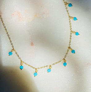 Layer Me Gold Plated Turquoise Bead Choker