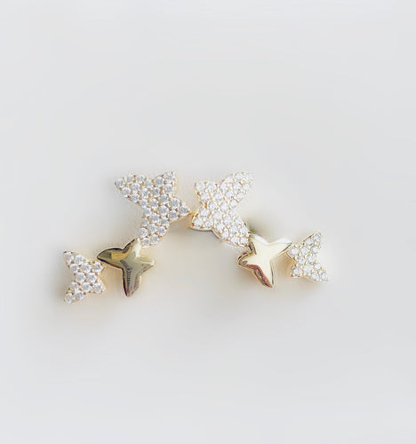 Lily Double Butterfly Stud Earrings