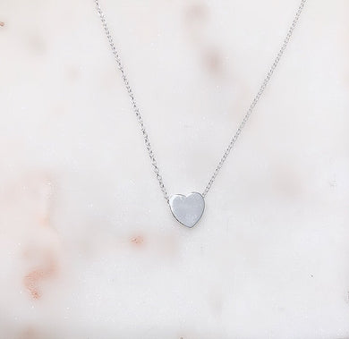 Sterling Silver Solid Love Heart Necklace - Silver