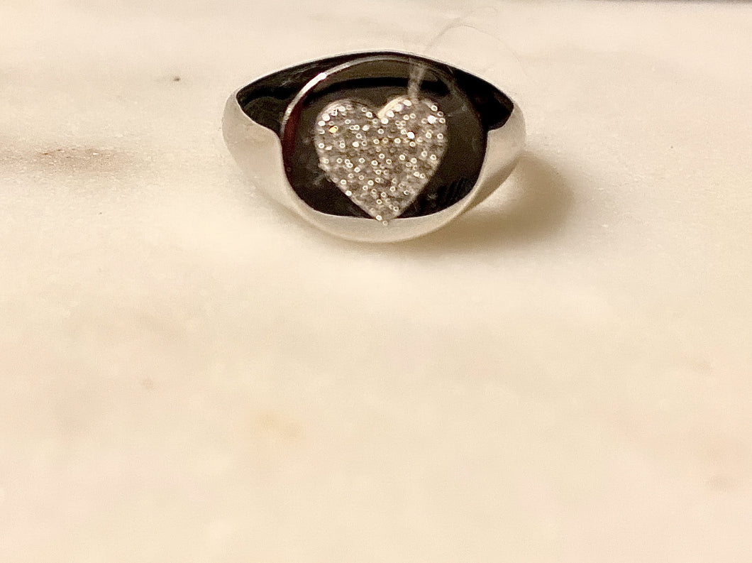 Sterling Silver Bella Heart Signet  Ring