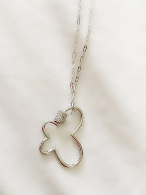 UnLock Butterfly Charm Pendant on Paperclip Sterling Silver Necklace 16in with CZ Stones