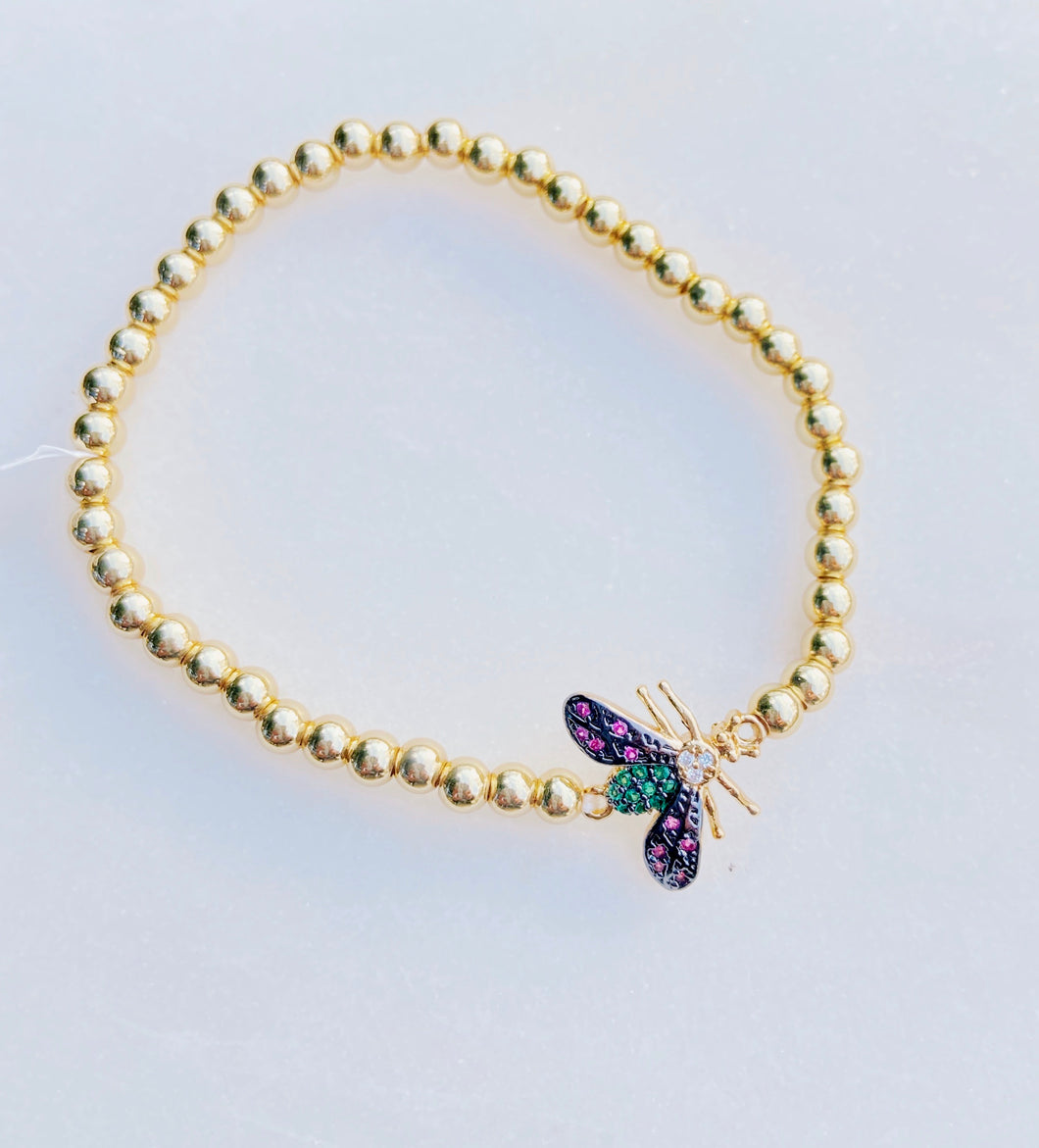 Bee Your Own Colors Brass Stretch Bracelet with CZ Stones