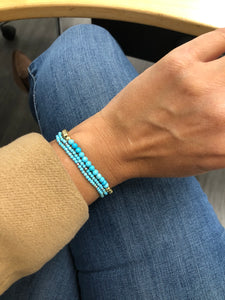 Gold Plated Beads with Turquoise Bracelet