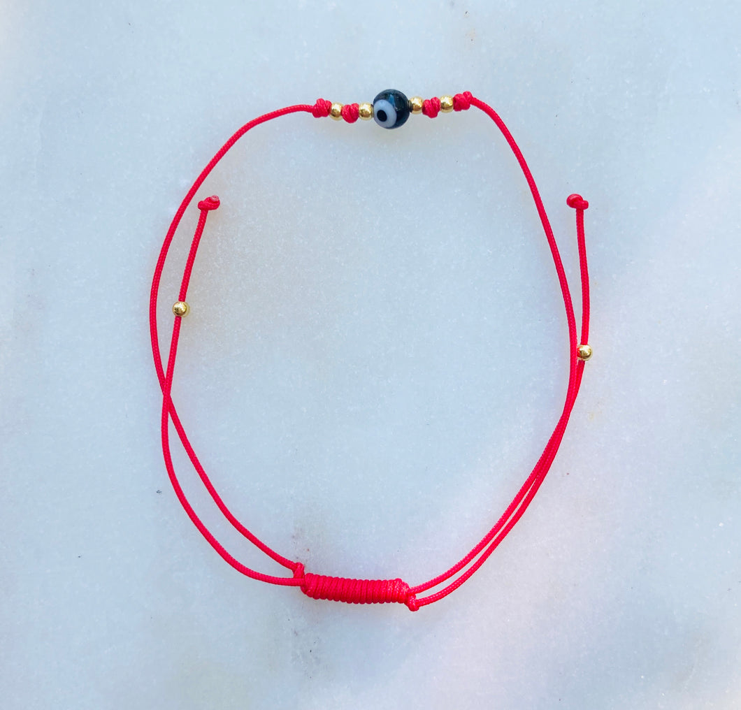 Red Evil Eye Simple Pull Cord Bracelet