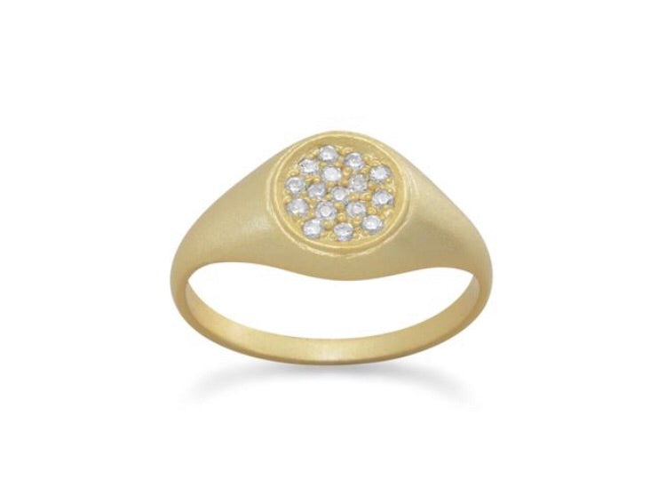 Satin Finish Pave Signet Ring