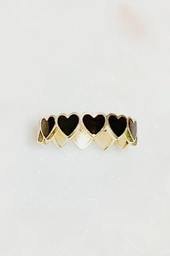 Sterling Silver Enamel Queen of Hearts Ring Size 9 - Black