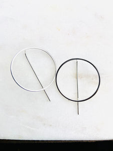 Sterling Silver Circle Threader Circle Earrings
