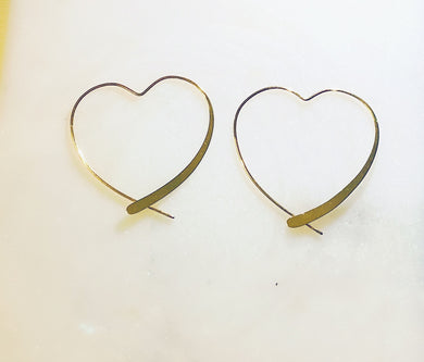 Sterling Silver Gold Plated You Have My Heart Hoop Earrings