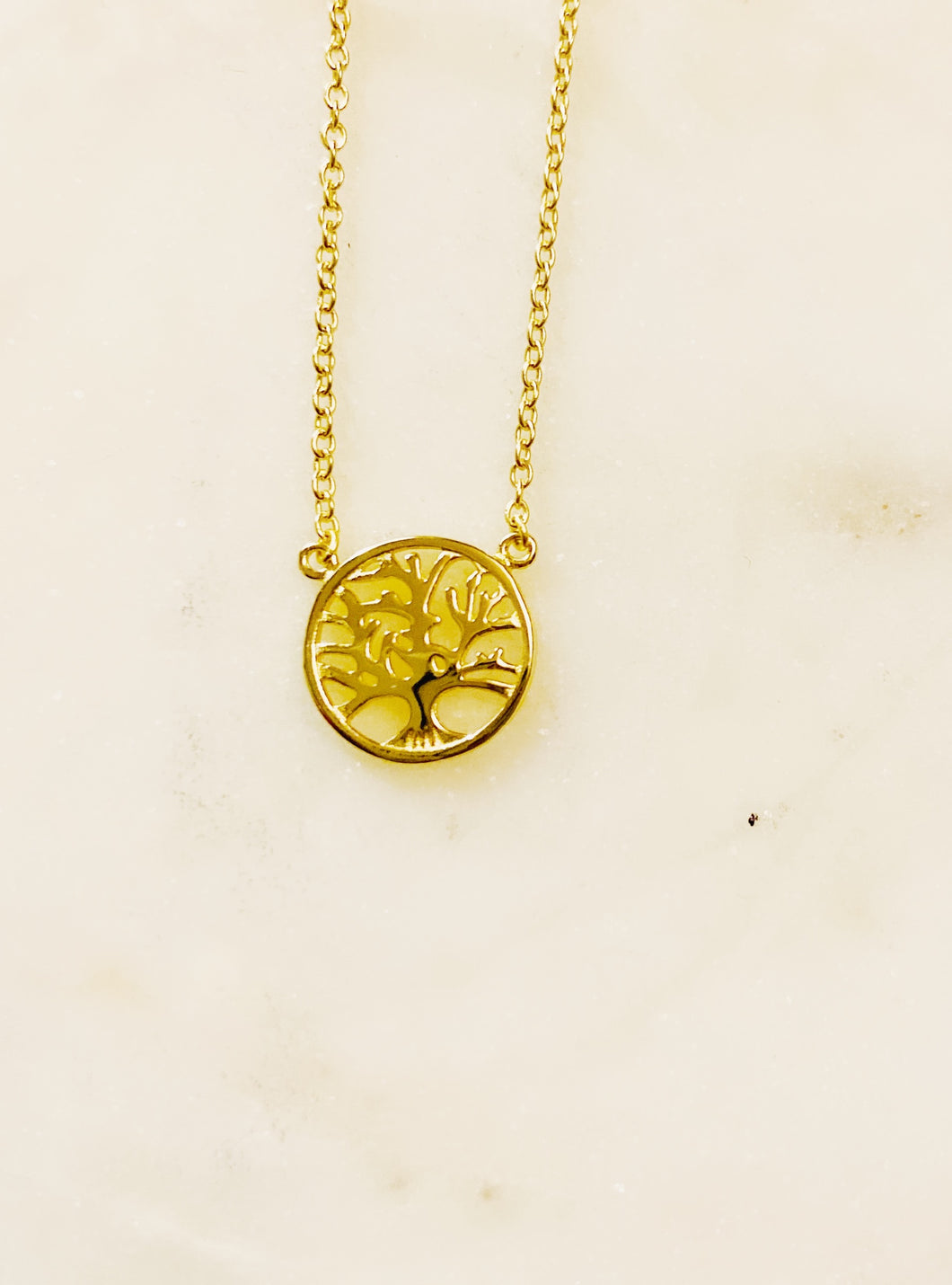 Sterling Silver Gold Plate Petite Tree Necklace