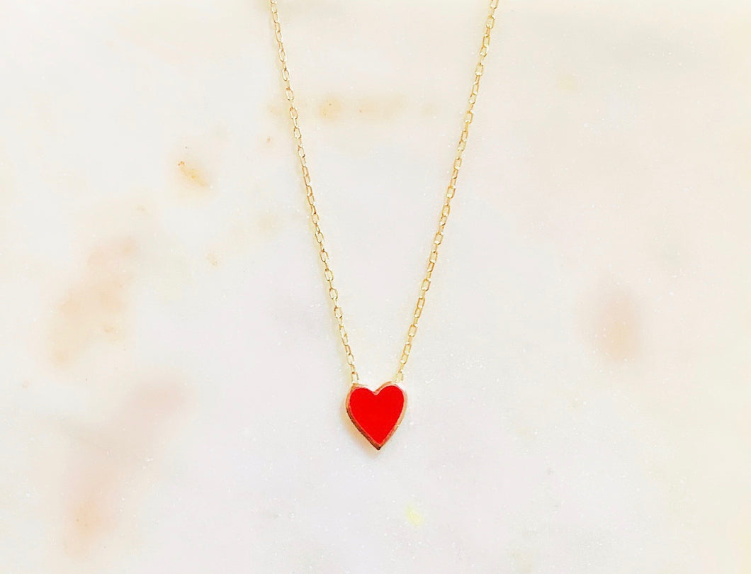 Sterling Silver Queen of Hearts Enamel Necklace
