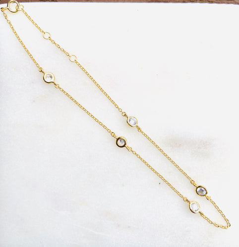 CZ Line Sterling Silver Gold Plated Anklet