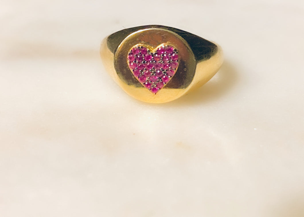 Bella Heart Signet Red Ring