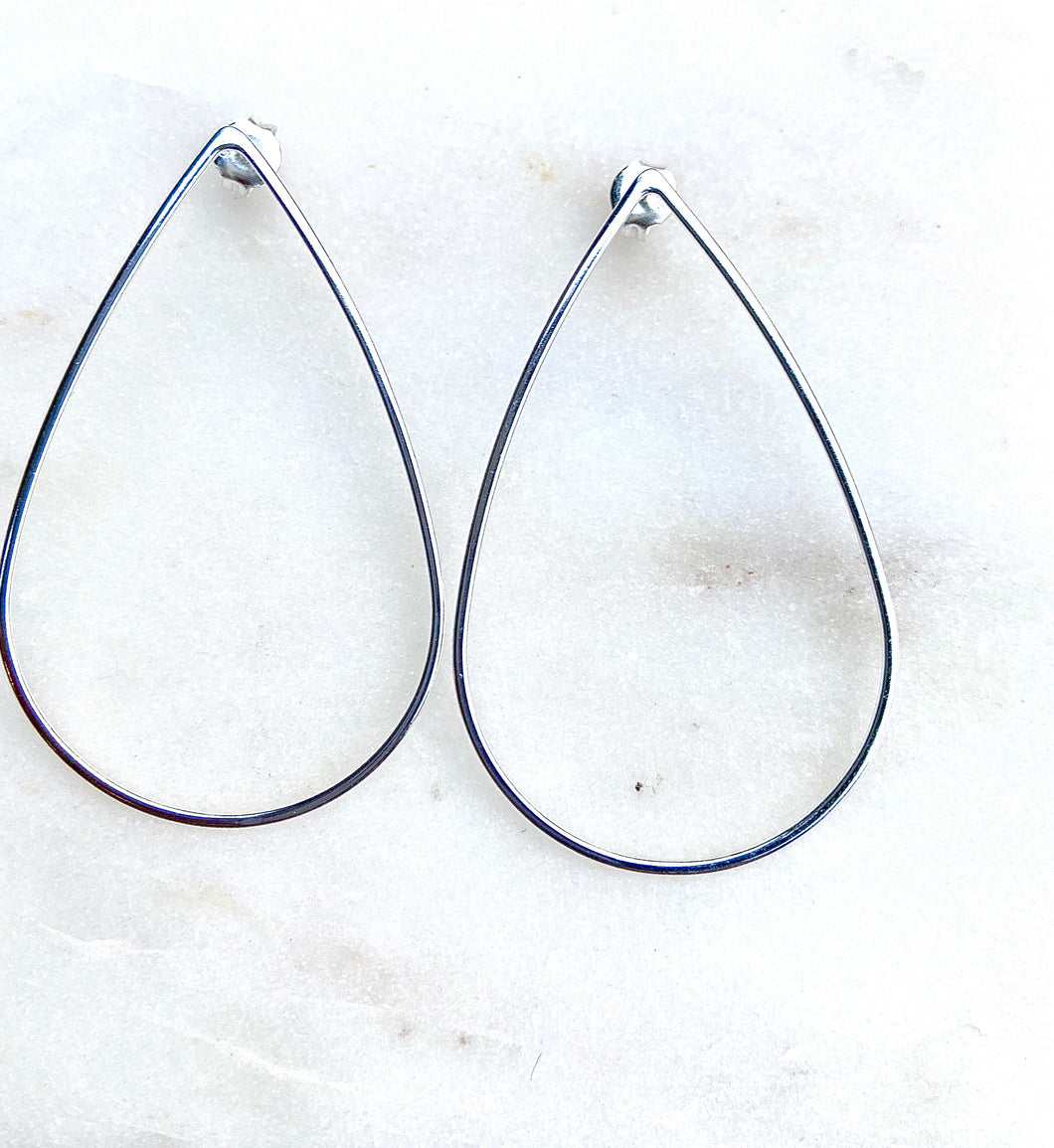 Sterling Silver Tear Drop Line Earrings