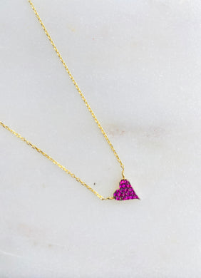 Gold Plated Cubic Zirconia Tiny Scarlett Red Heart Necklace