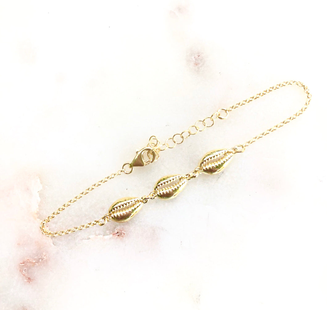 Sterling Silver Gold Tone Triple Shell Bracelet