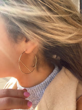 Load image into Gallery viewer, Sterling Silver Plated Brass Modern Sol Hoop Earrings