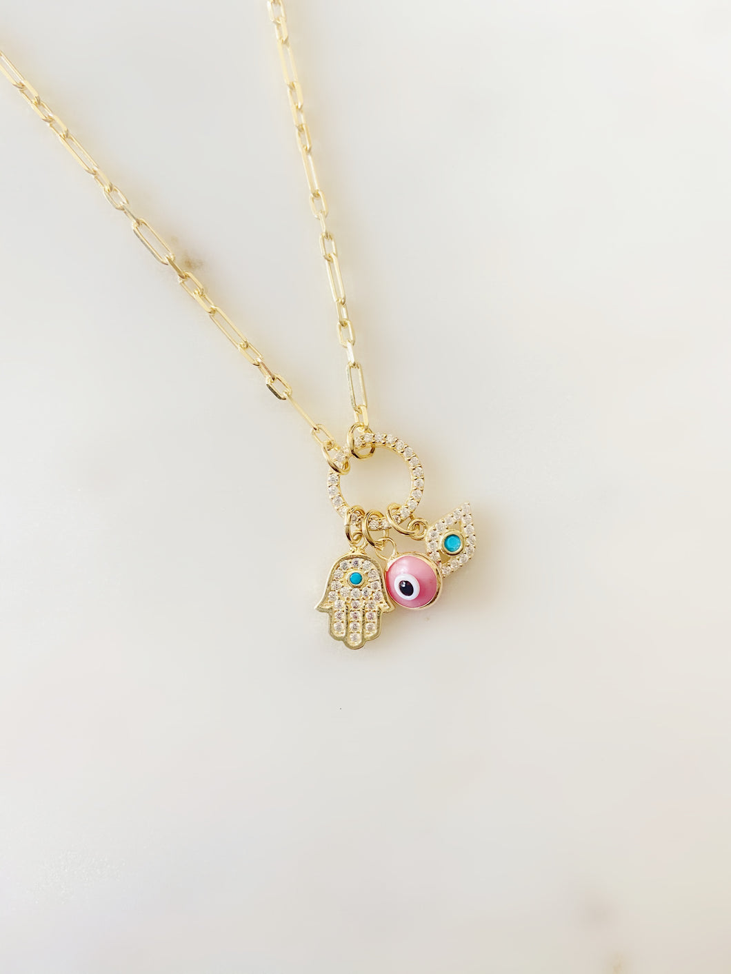 Three's a Charm Evil Eye Link Necklace