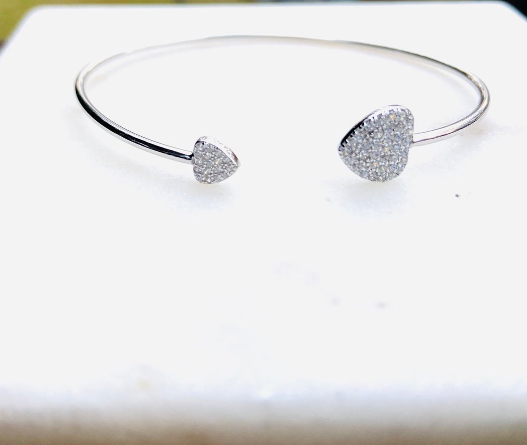 All Hearts Sterling Silver Pave Stones Bangle