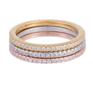 Triple Stack Pave Stone Ring