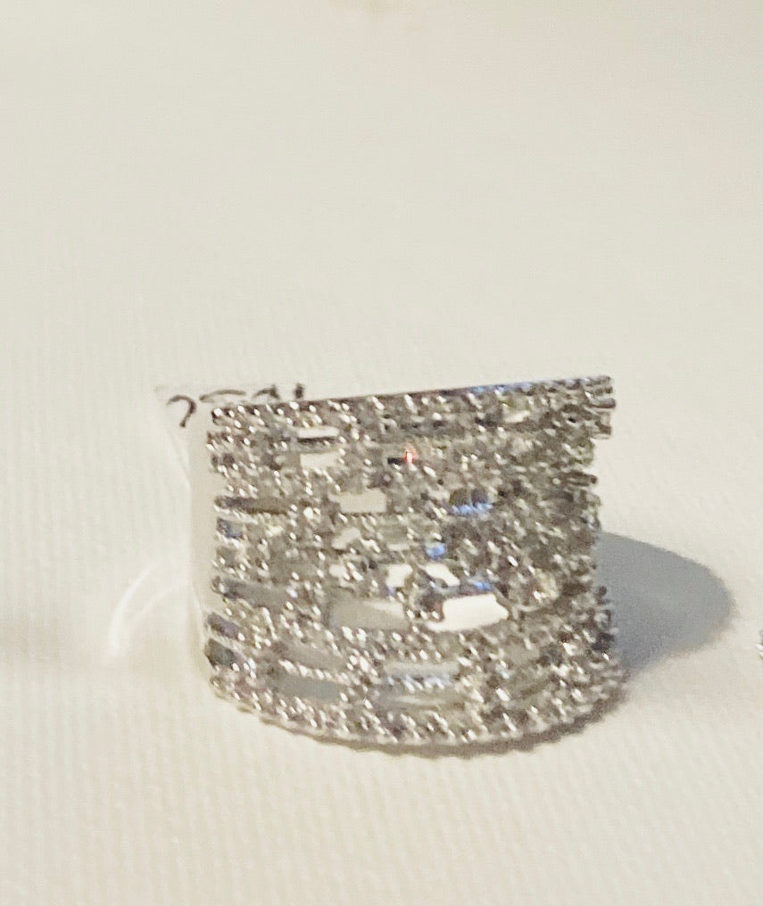 Silver Plated Brass Wide Band Cubic Zirconia Chaos Ring