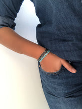 Load image into Gallery viewer, Silver Turquoise Stretch Layering Bracelet