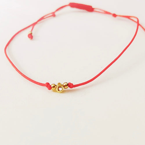 Red Pull Cord Touch of Gold String Bracelet
