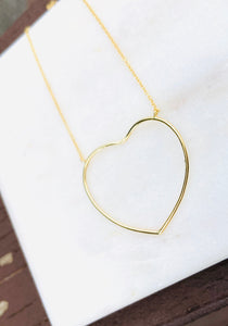 Gold Plated Jumbo Love Heart Necklace