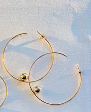 Load image into Gallery viewer, Sterling Silver Plated Brass Floating Gold Bead Hoop Earrings