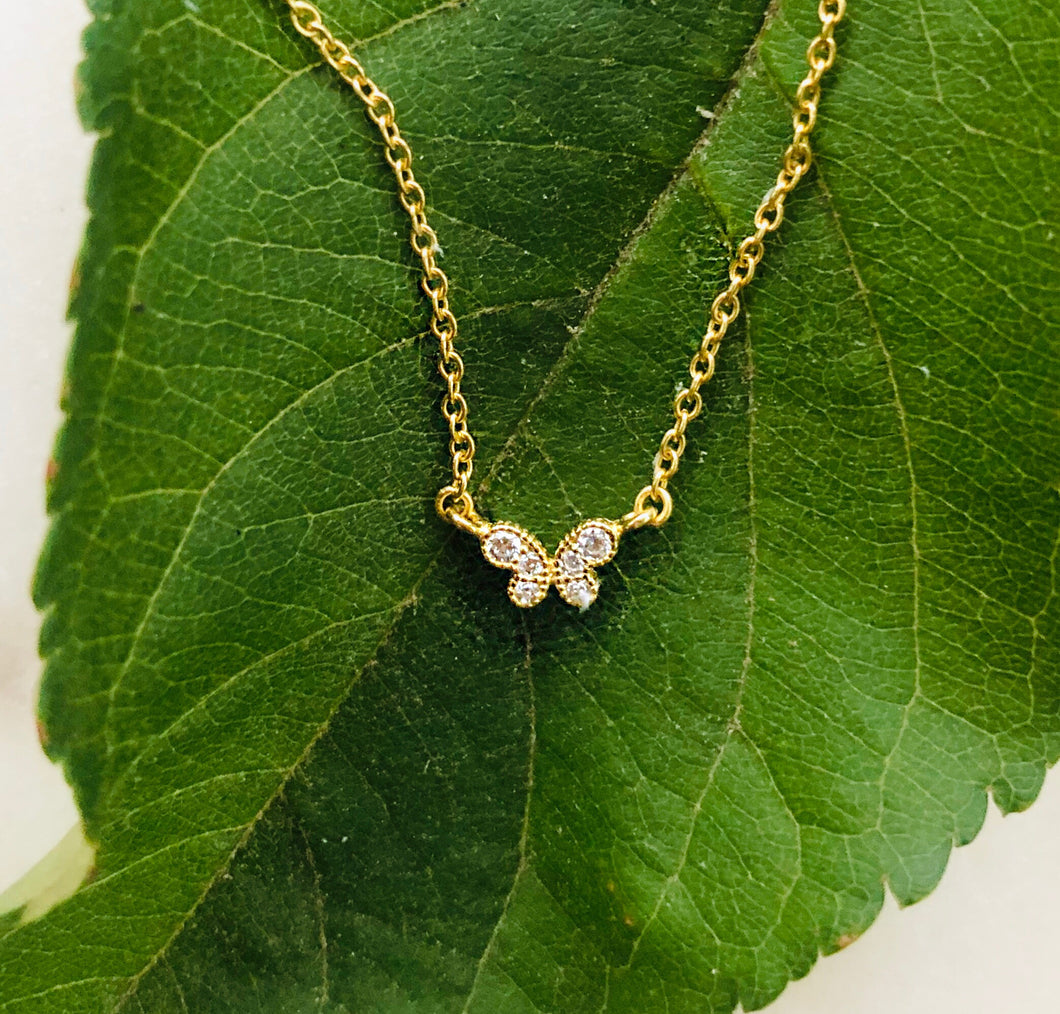 Sterling Silver Gold Plated Petite Butterfly Necklace