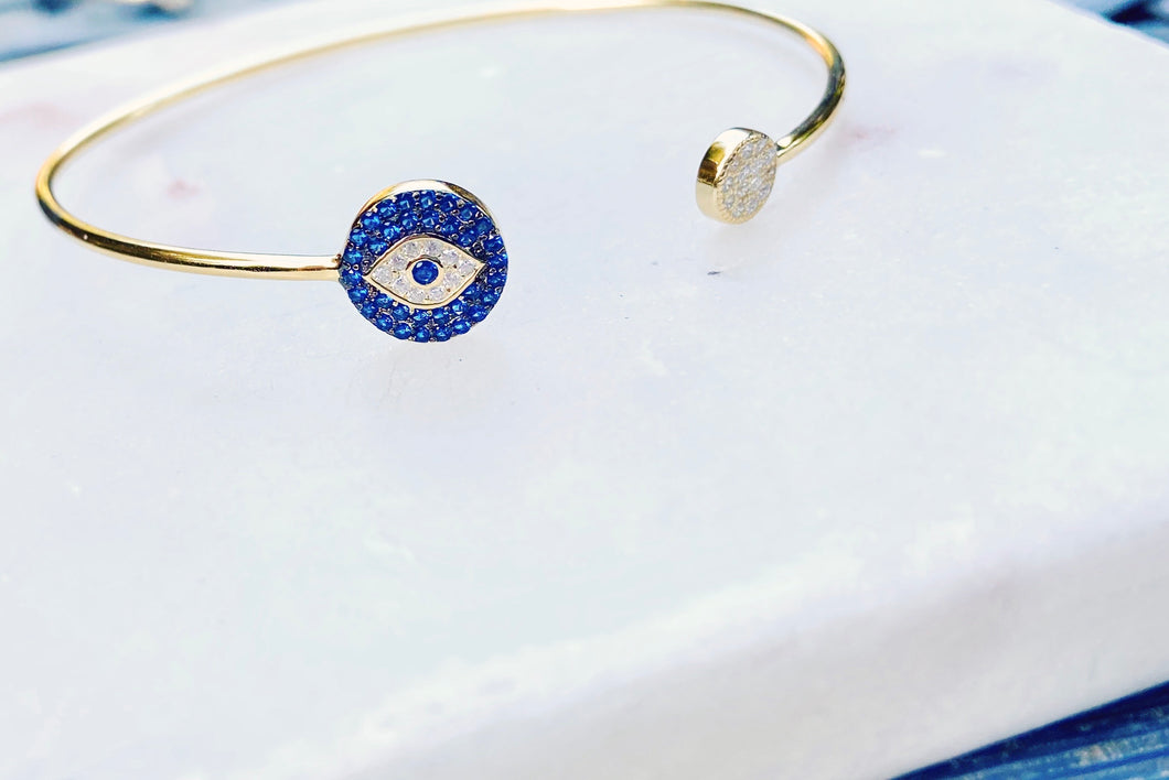 Sterling Silver Gold Plated Evil Eye Protector Bangle