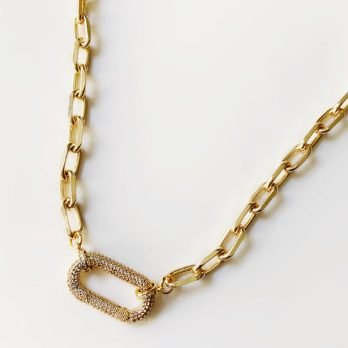 Long Gold Link Clip Necklace 20""