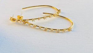 Gold Plated Brass CZ Estrella J Hoop Earrings