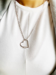 UnLock Mega Heart Charm 24in Paperclip Sterling Silver Necklace with CZ Stones