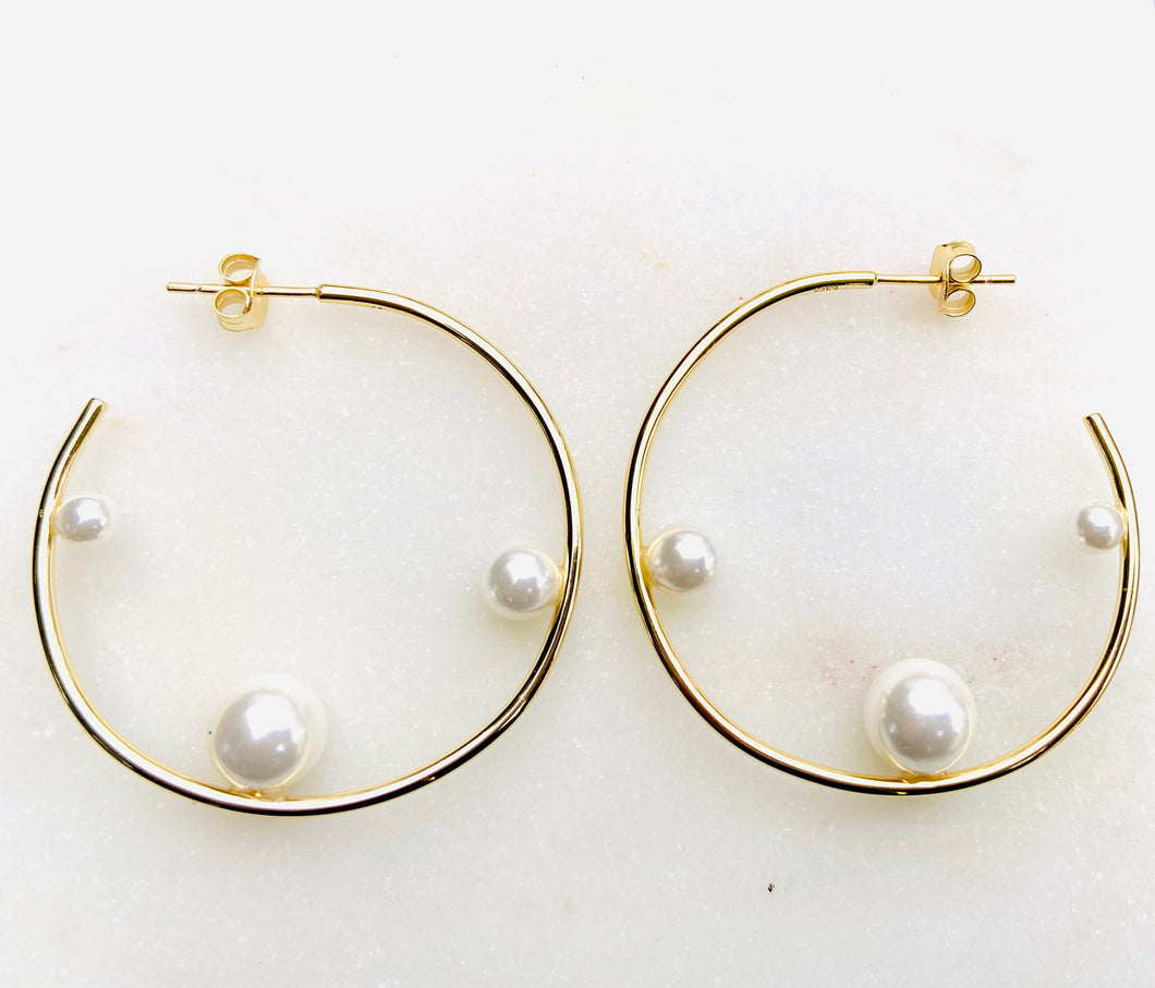 Gold Plated Perla Hoop Earrings