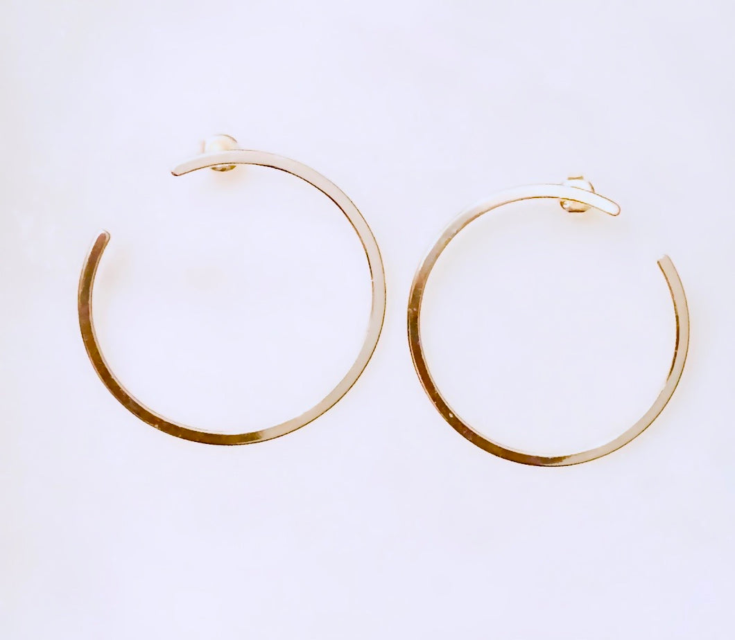 Sterling Silver Gold Plated Simple Front Hoops