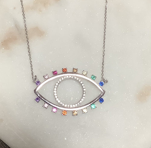 Large Rainbow Evil Eye Necklace