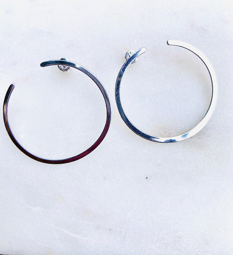 Sterling Silver Front Circle Hoop Earrings